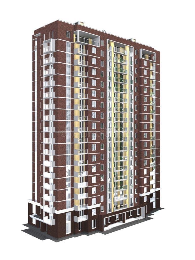 3d现代多层的居民住房翻译  向量例证