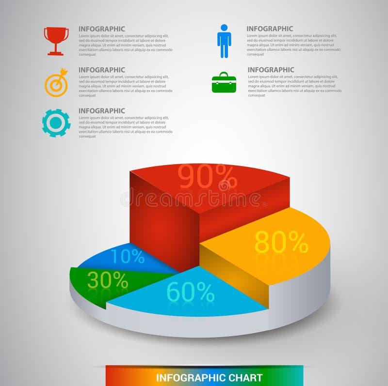 3D现代数字式模板传染媒介infographics 库存例证