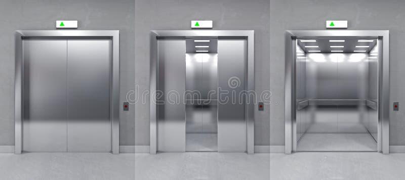 3d现代电梯 向量例证