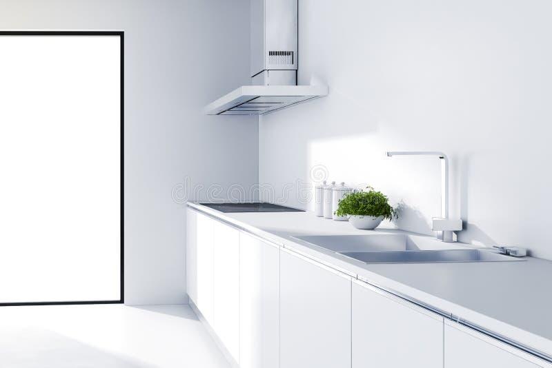 3d现代白色厨房 库存例证