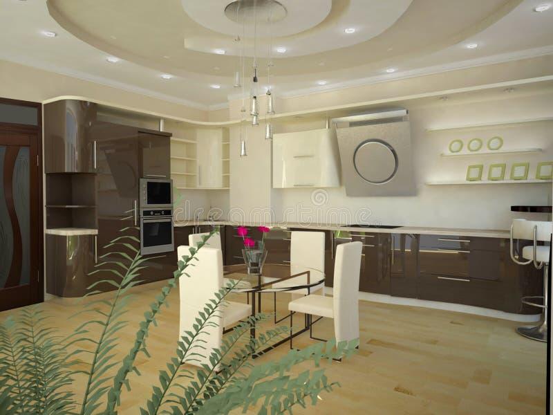 3d现代的厨房 免版税库存图片