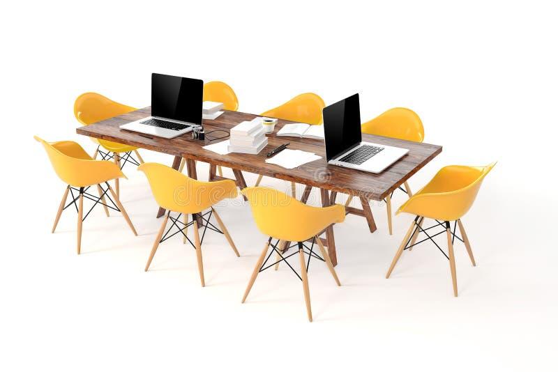 3d现代计算机工作场所,会议桌 向量例证