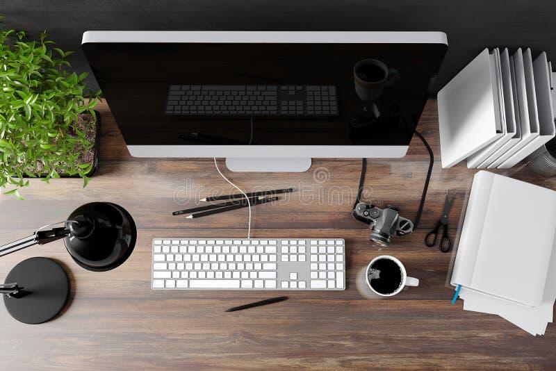 3d现代计算机工作场所 向量例证