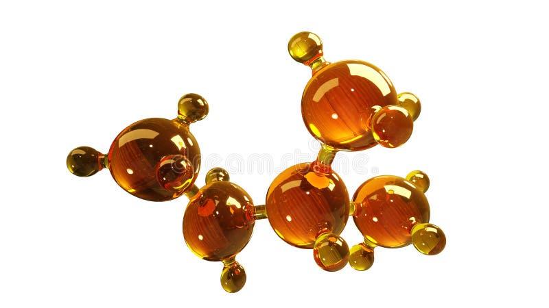 3d玻璃分子模型的翻译例证 油分子  结构模型在白色或气体的概念隔绝的机油 库存例证