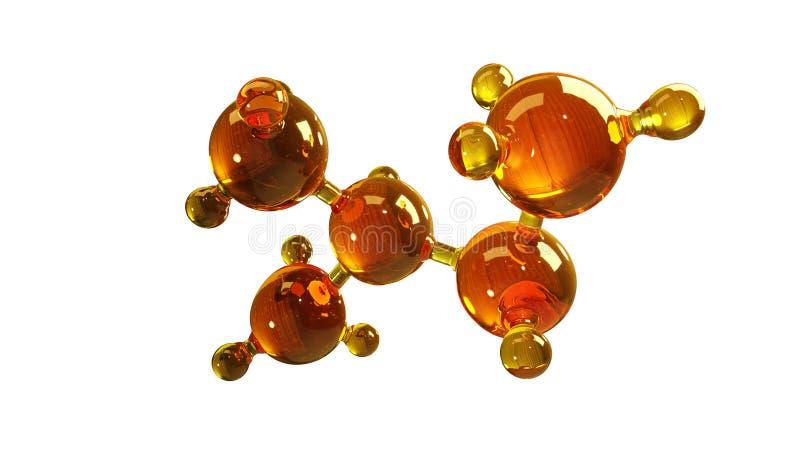 3d玻璃分子模型的翻译例证 油分子  结构模型在白色或气体的概念隔绝的机油 皇族释放例证