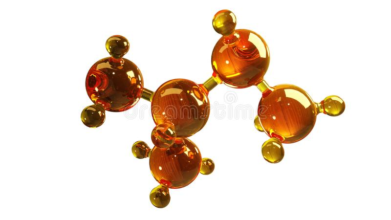 3d玻璃分子模型的翻译例证 油分子  结构模型在白色或气体的概念隔绝的机油 向量例证