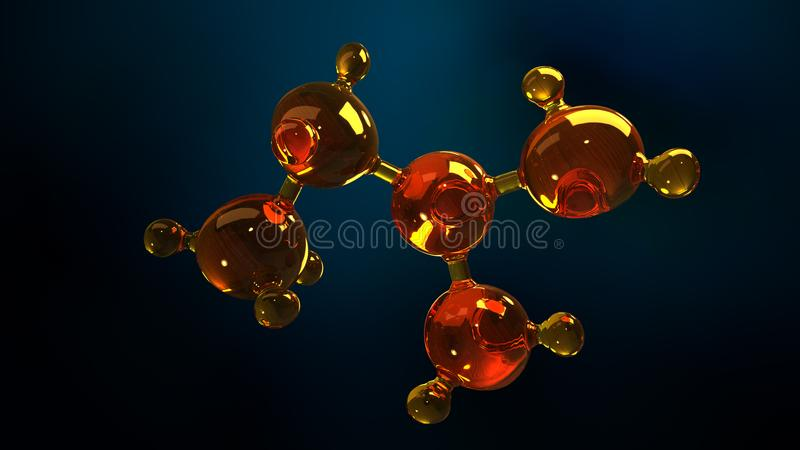 3d玻璃分子模型的翻译例证 油分子  结构模型机油或气体的概念 库存例证