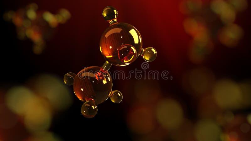 3d玻璃分子模型的翻译例证 油分子  结构模型机油或气体的概念 免版税库存照片