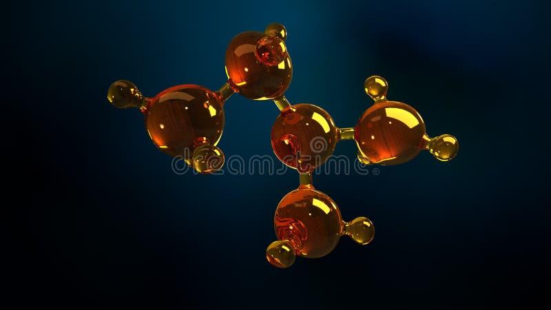 3d玻璃分子模型的翻译例证 油分子  结构模型机油或气体的概念 图库摄影