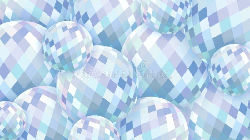 3d玻璃球形抽象背景 白色蓝色水晶样式 皇族释放例证