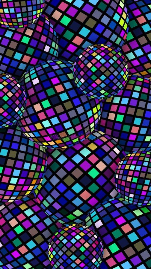 3d球创造性的背景摘要 呈虹彩蓝色紫色桃红色玻璃马赛克样式 向量例证