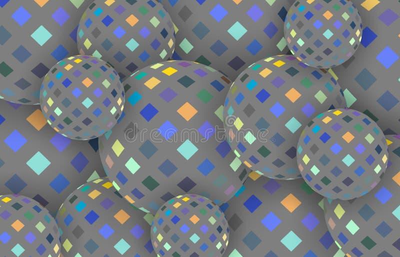 3d球形蓝色黄色灰色抽象马赛克背景 时髦创造性的现代墙纸 向量例证