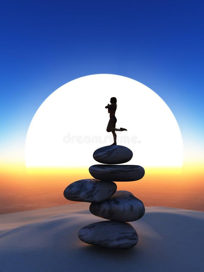 3D瑜伽姿势的女性在反对日落天空的平衡的石头 向量例证