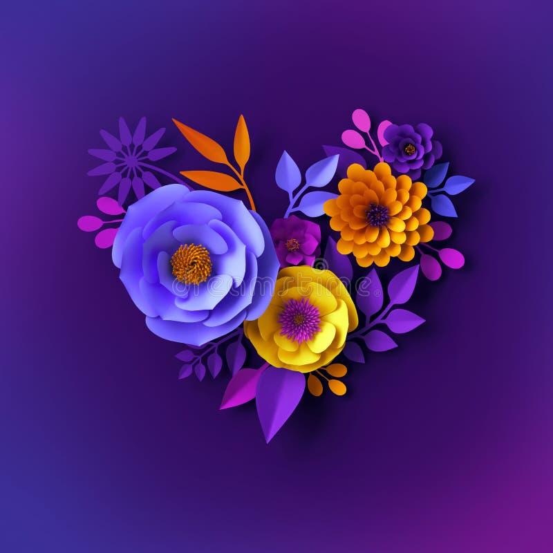 3d生动的霓虹纸花设计,花卉心形,情人节概念,欢乐剪贴美术,植物的背景 皇族释放例证