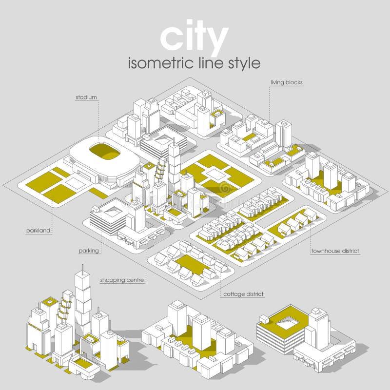 3d用不同的大厦、房子、商店和摩天大楼的传染媒介等量信息图表城市街道 皇族释放例证