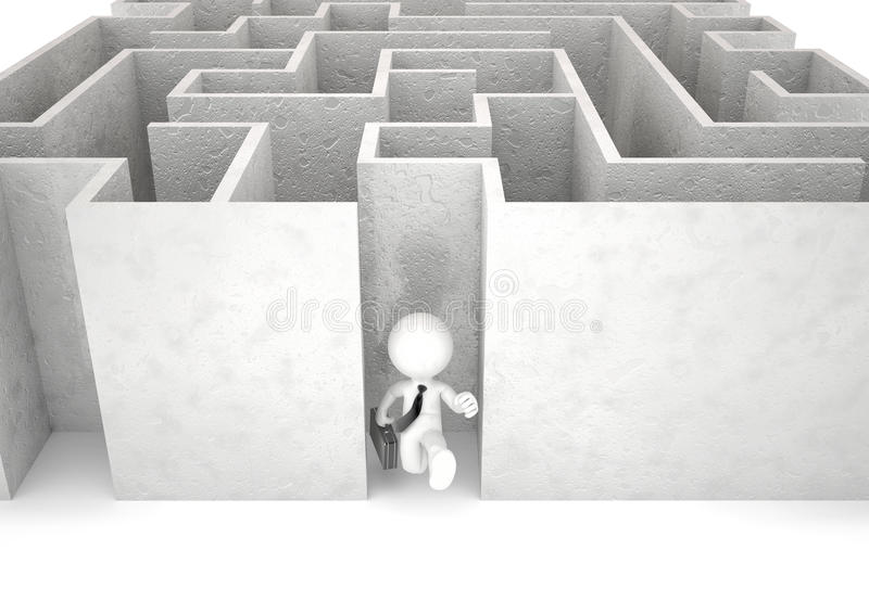 3d用尽迷宫的商人 包含裁减路线 库存例证
