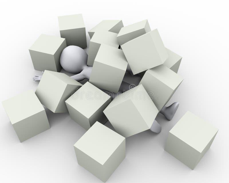 3d用箱子立方体盖的人 库存例证