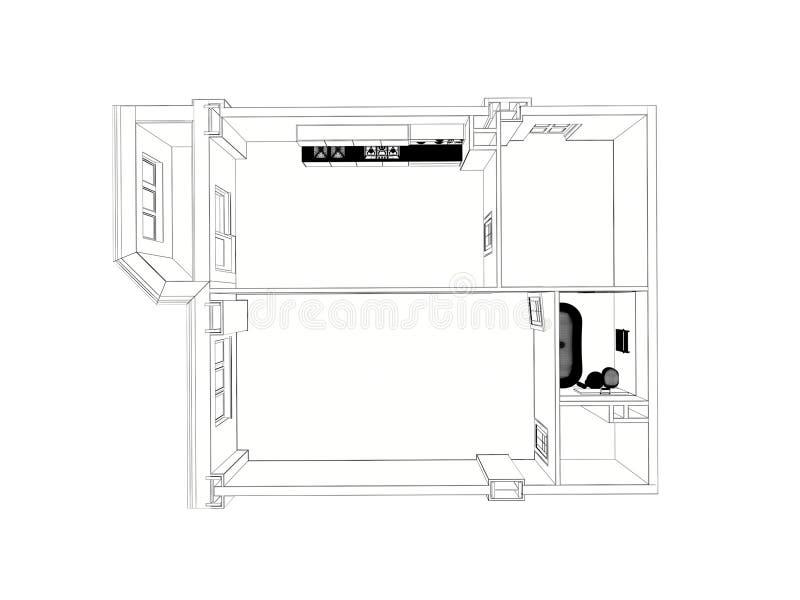 3d用装备的家庭公寓翻译,被隔绝 向量例证