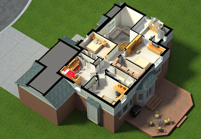 3D用装备的议院内部 库存例证