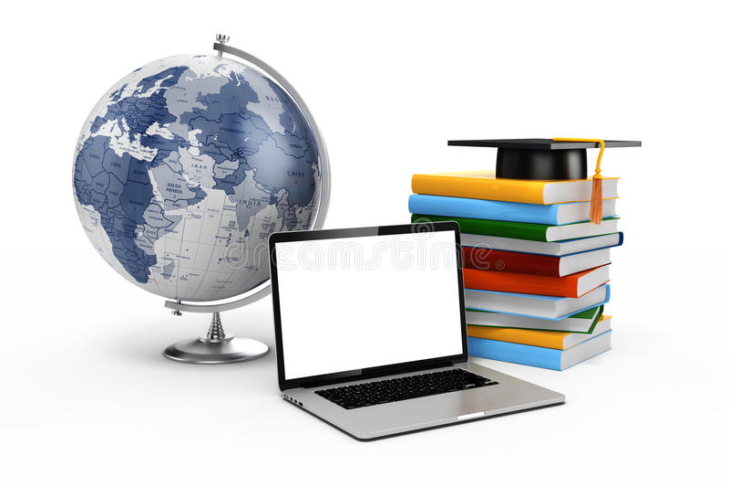 3d电子教学和教育概念 皇族释放例证