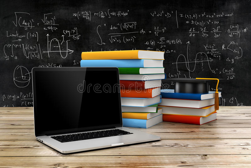 3d电子教学和教育概念 库存例证