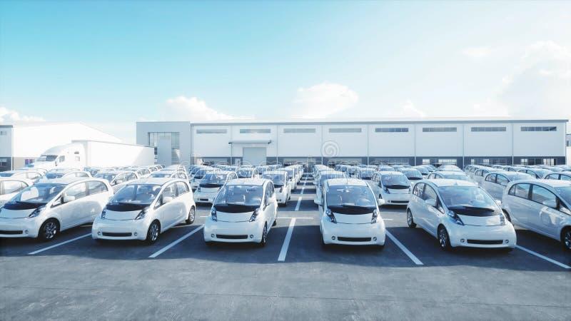 3d电新的汽车模型在库存 售车行汽车待售 概念许多生态的图象我的投资组合 3d翻译 向量例证