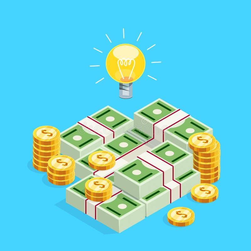 3d电灯泡作为创造性的想法的标志在堆的isometri 皇族释放例证