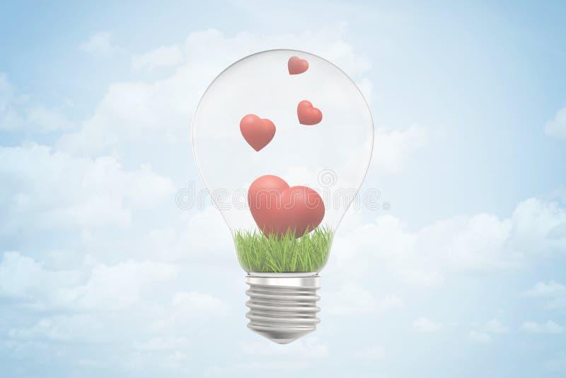 3d电灯泡和绿草特写镜头翻译和在它里面的四逗人喜爱的红心,反对与云彩的天空蔚蓝 库存例证