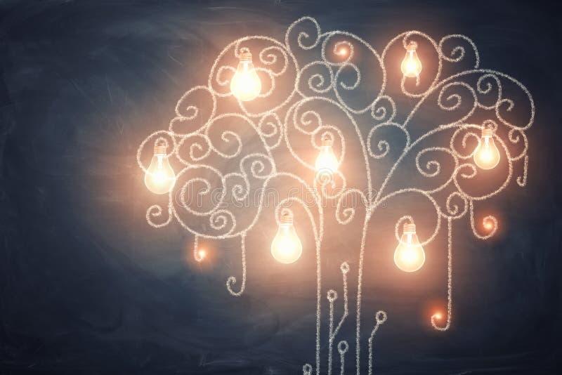 3d电灯泡的大手套的收藏翻译生长在一棵弯曲的光亮的树的 免版税库存照片