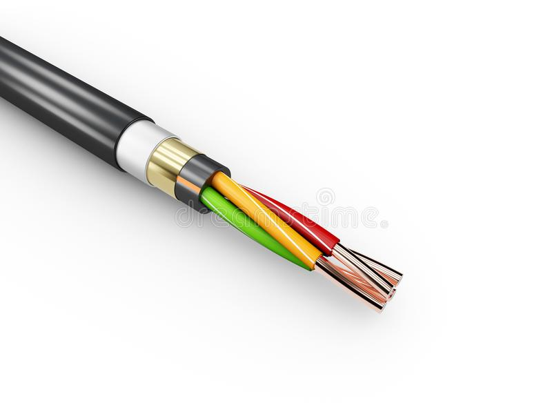 3d电缆的例证 在多彩多姿的绝缘材料的铜电缆在白色背景 向量例证