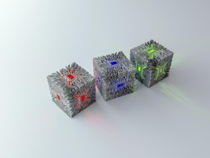 3d电路立方体 向量例证