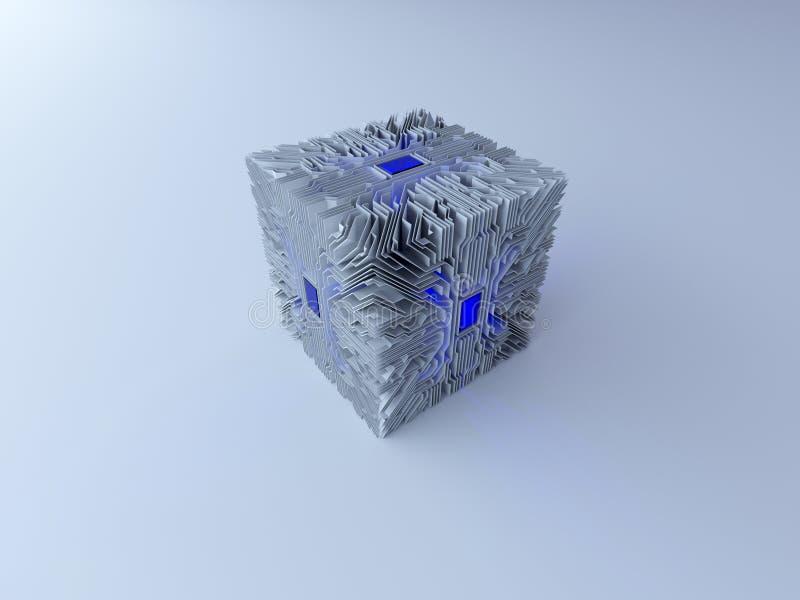 3d电路立方体 皇族释放例证