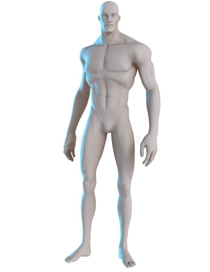 3D男性英雄姿势参考大胆地去 库存照片