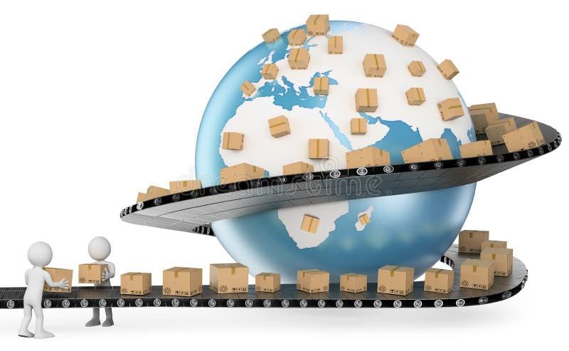 3D白人。国际送货业务 向量例证