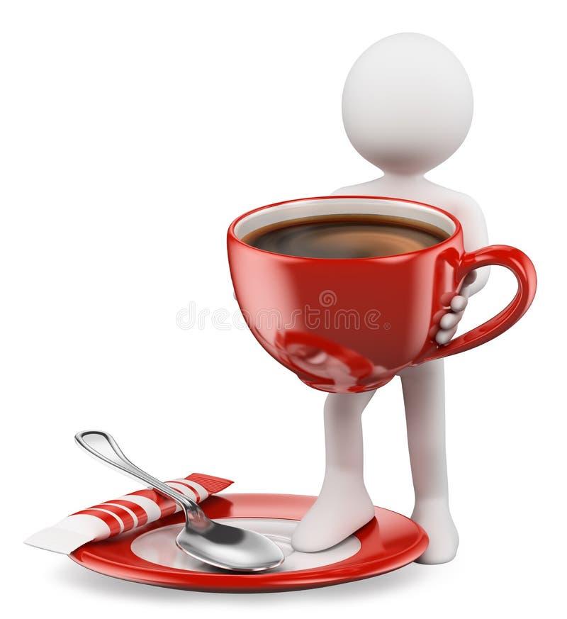 3D白人。杯coffe