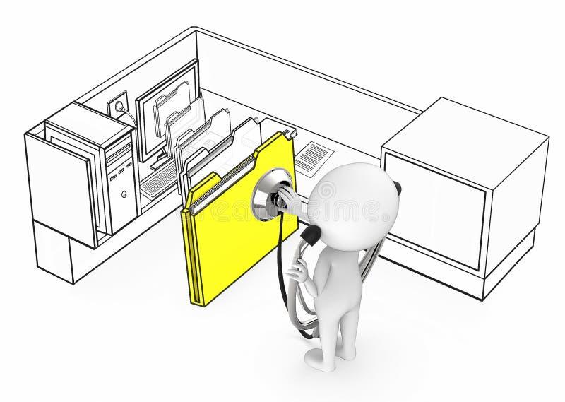 3d白人佩带的听诊器和诊断来自一台计算机的显示器的文件夹在办公室小卧室里面的 向量例证