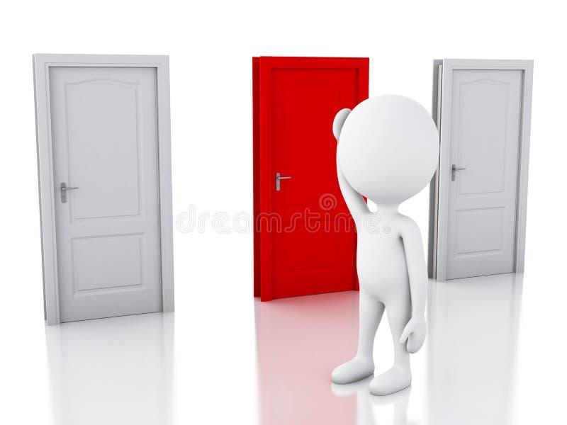 3d白人和三个门,半信半疑 挑选概念 库存例证