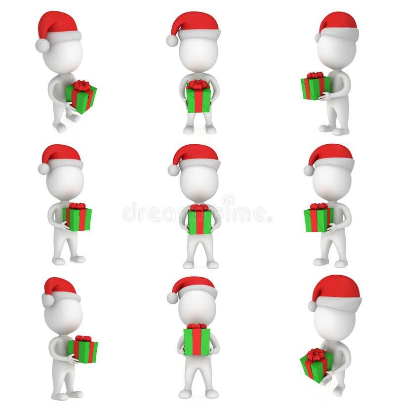 3d白人在有绿色礼物的圣诞老人盖帽 集合 库存例证