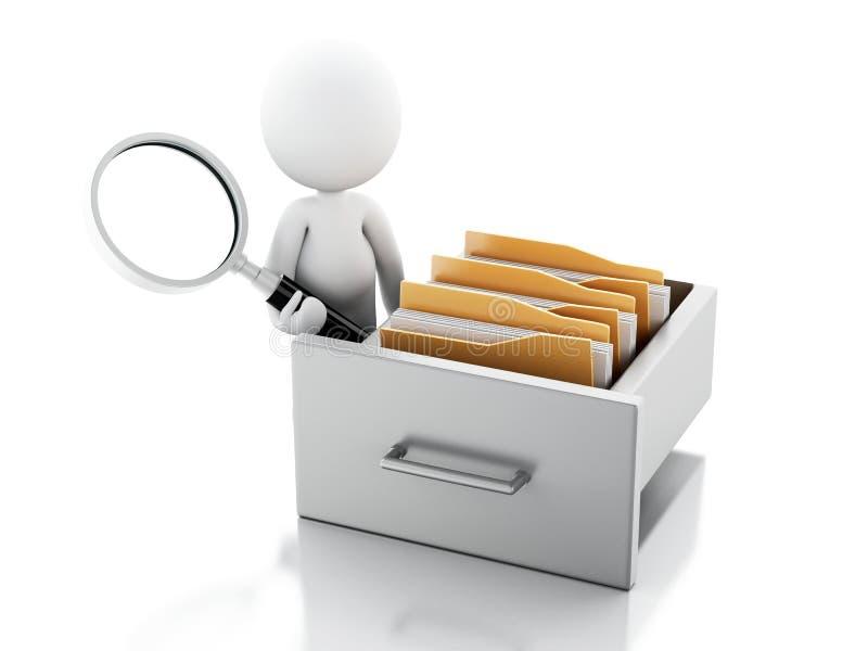 3d白人审查文件柜 向量例证
