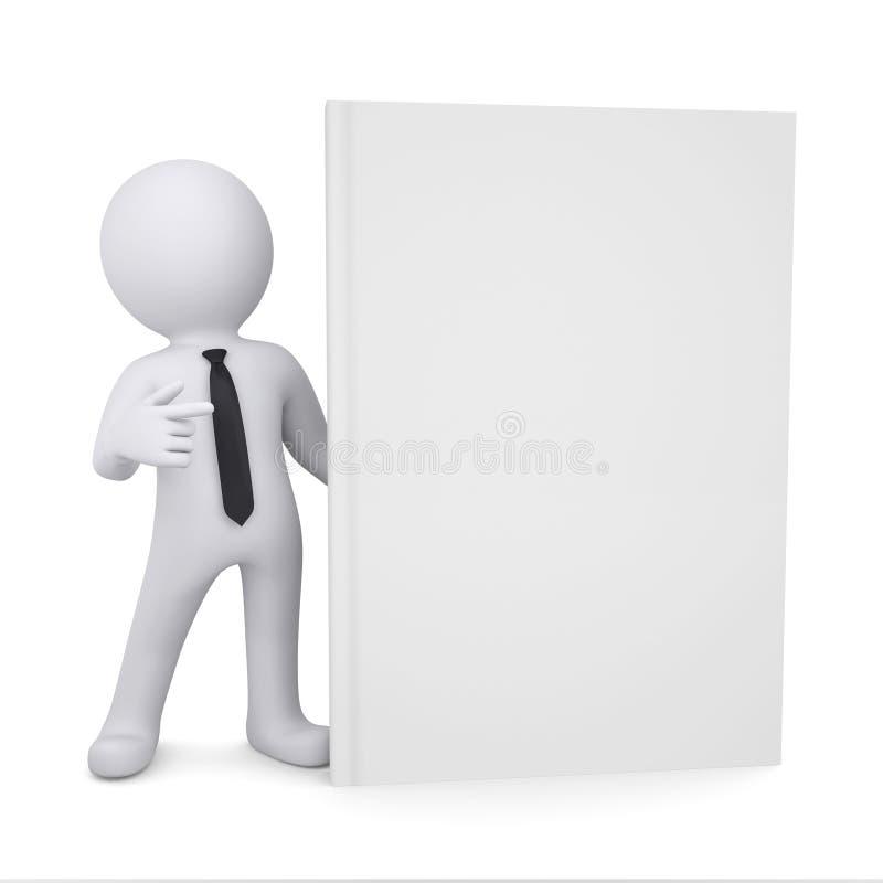 3d白人把一个手指指向书 库存例证