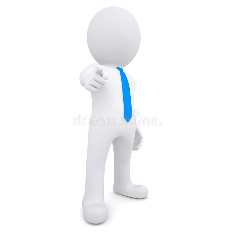 3d白人把他的手指指向观察者 库存例证