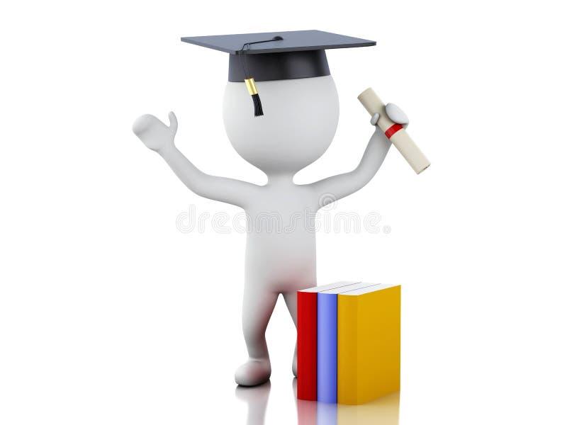 3d白人毕业与文凭,毕业盖帽 皇族释放例证