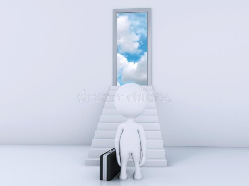 3d白人爬梯子对天堂的门 向量例证