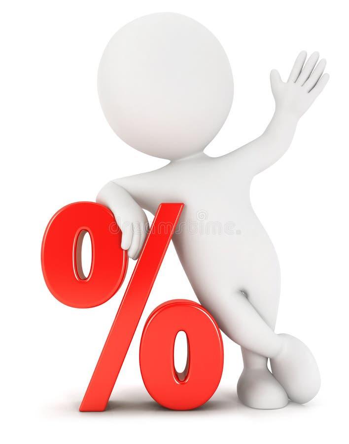 3d白人百分之 向量例证
