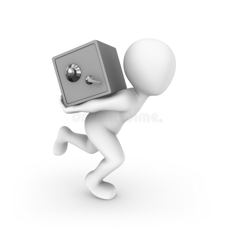 3d白人跑与银行保险柜 向量例证