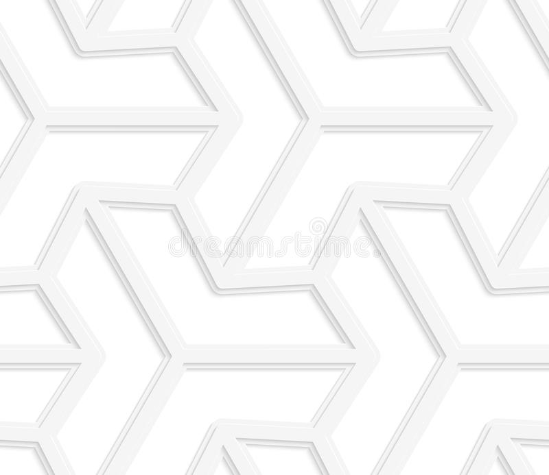 3D白色三光芒六角星 向量例证