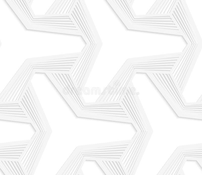 3D白色三发出光线与镶边垂距的六角星 库存例证