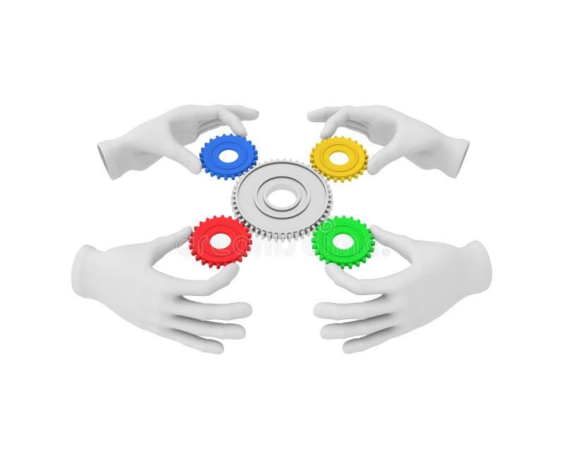 3d白色人的手拿着色的齿轮(嵌齿轮) 3d例证 向量例证