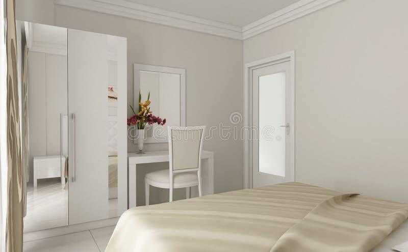 3d白色卧室设计细节 免版税库存照片