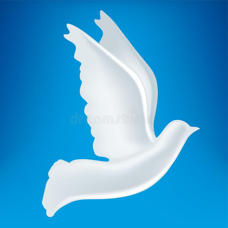 3D白色和平鸠标志的例证 皇族释放例证